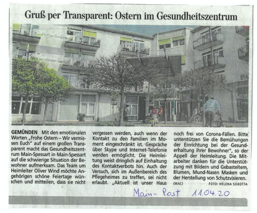 Gruß per Transparent: Ostern im Gesundheitszentrum